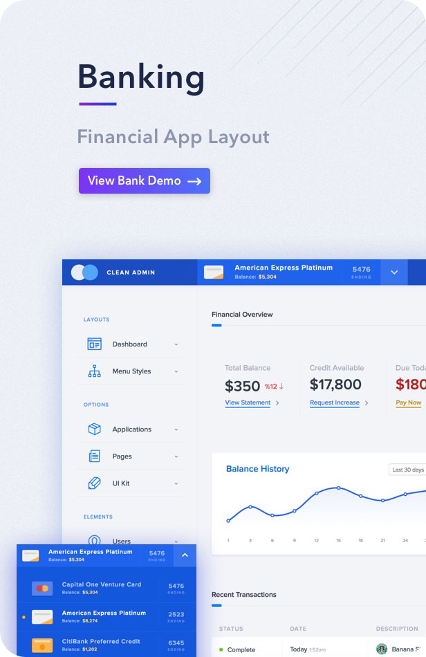 Light admin clean bootstrap 4 dashboard html template for Banking dashboard templates