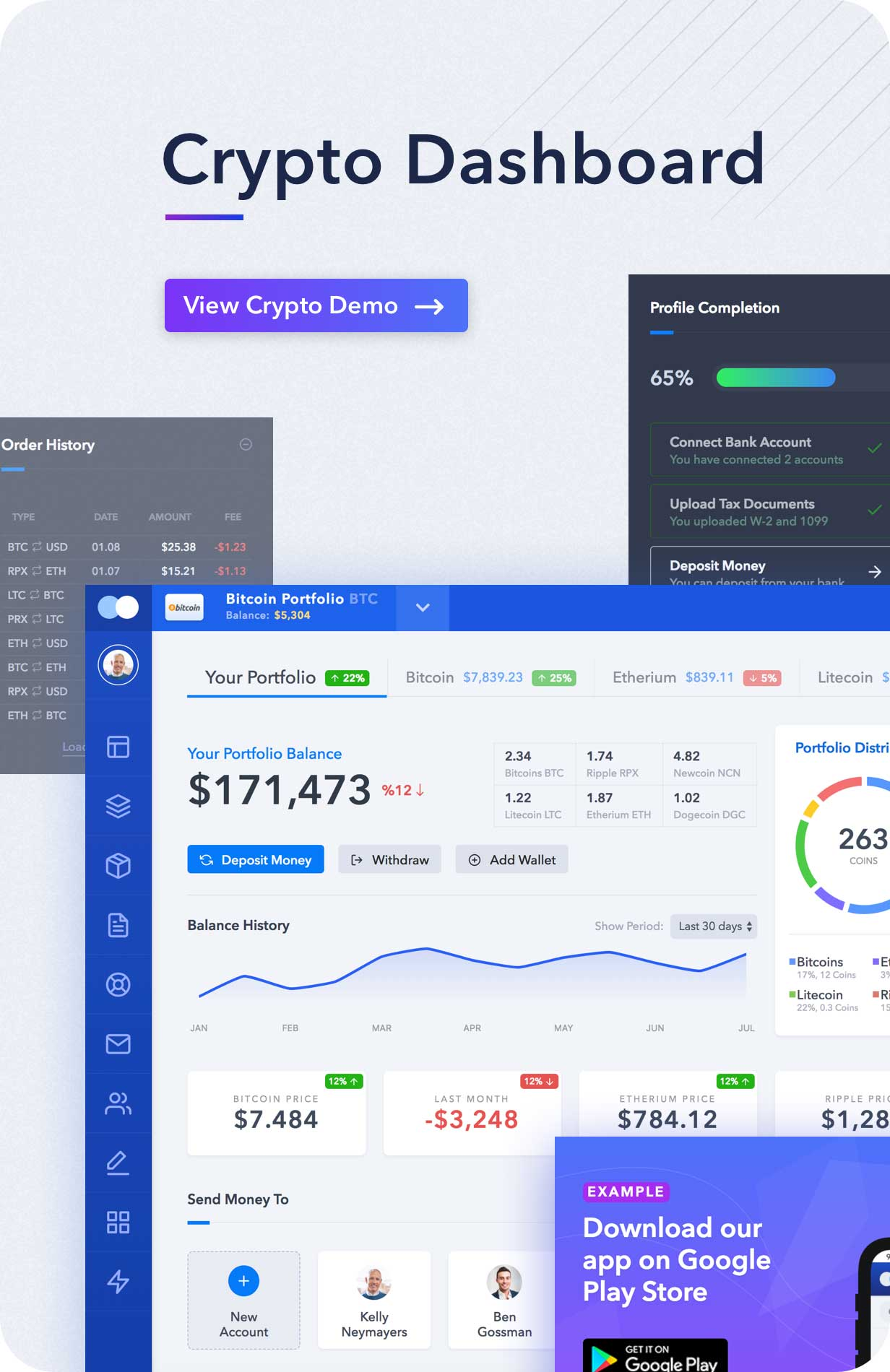 Light Admin Clean Bootstrap Dashboard HTML Template With Crypto - Simple dashboard html template