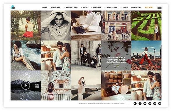 Wordpress theme for photographers with borders padding around content