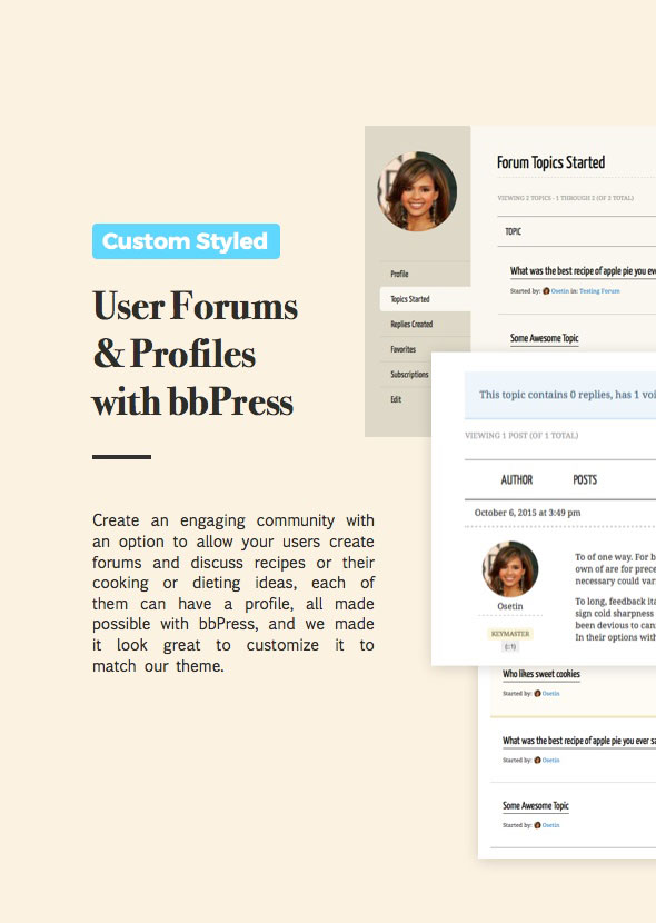 food recipes wordpress theme with bbpress forum support